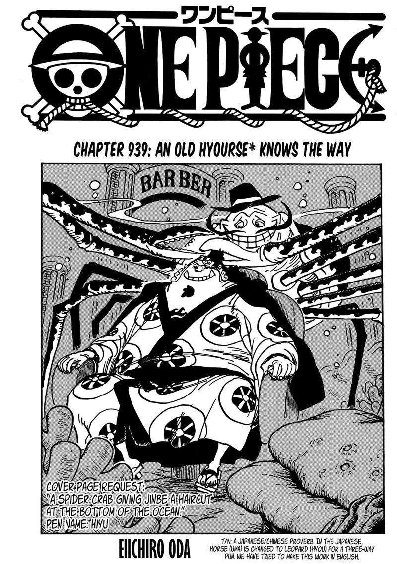 One Piece, Chapter 939 image 001
